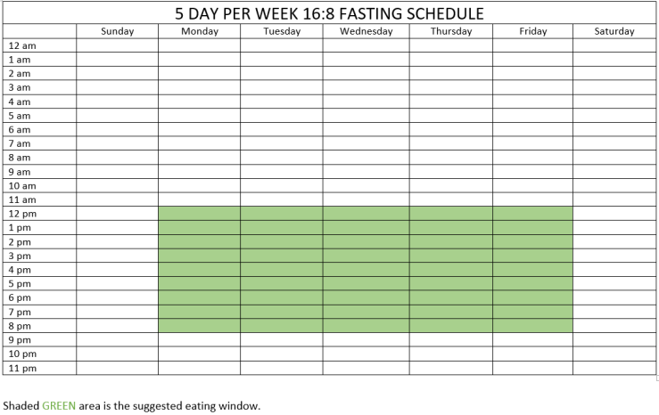 5 day a week 16 8